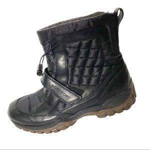 Rockport Black Leather and Fabric Waterproof Boots